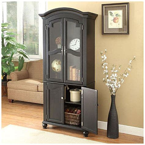 view 72 quot black cabinet with glass door deals at big lots