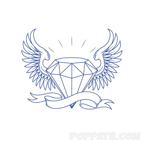 how to draw a diamond tattoo pop path