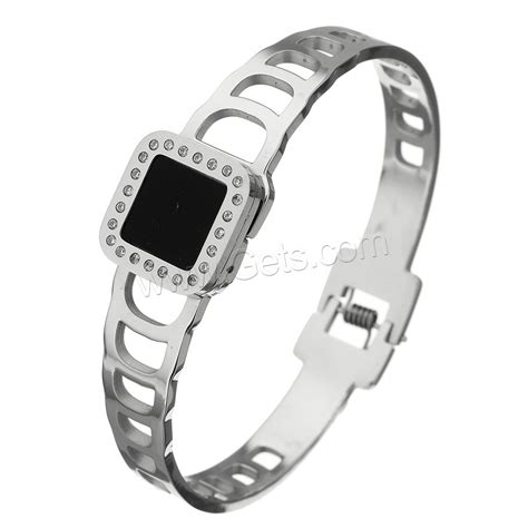 Steel Bangle With Cubic Zirconia stainless steel bangle with resin micro pave cubic