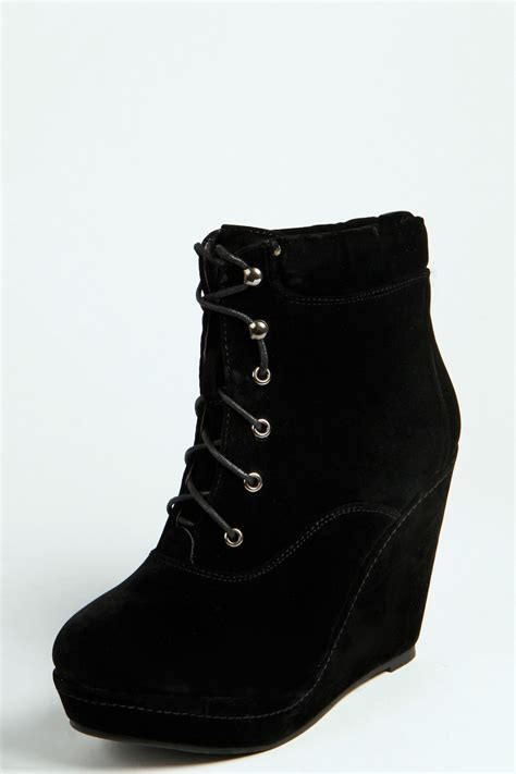 lace up wedge boots boohoo lace up wedge shoe boots ebay