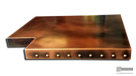 copper top bar custom copper bar table top with dark wash patina and rivets