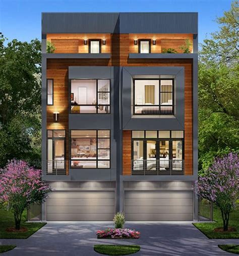 narrow townhome plans  brownstone style homes
