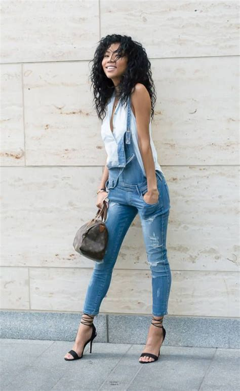 blasiangurl ripped denim dungaree outfit idea ensembles