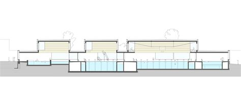 section of swimming pool chequered facade surrounds swimming pool complex by