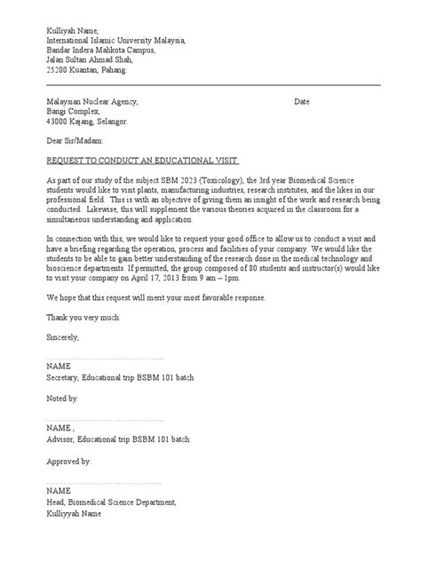 Exle Request Letter To Conduct A Research Study In A School Permission Letter To Visit Company Doc