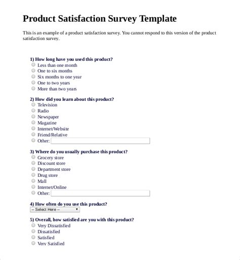 brand awareness survey template 12 product survey templates free sle exle