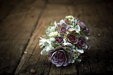 Wedding Bouquet With Succulents by Bridal Bouquet Green Purple Succulents Onewed