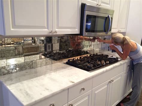 mirrored kitchen backsplash antique mirror tiles backsplash installation