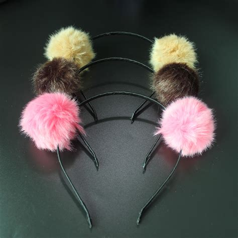 Fashion Pom Pom fashion 5cm pom pom elastic hairbands softball