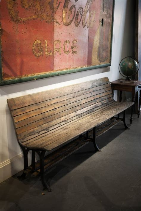 century maple  cast iron train station bench  stdibs