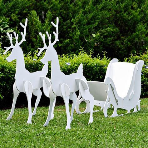 reindeer sleigh lawn decorations for christmas large sleigh and reindeer set
