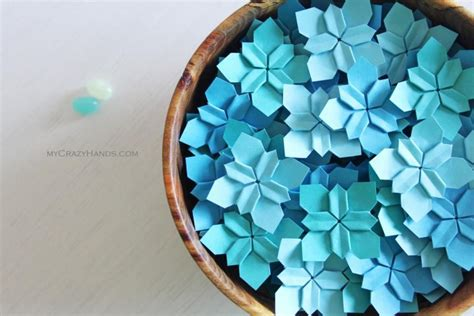 Origami 4 Petal Flower - 100 blues wedding petals wedding flower table