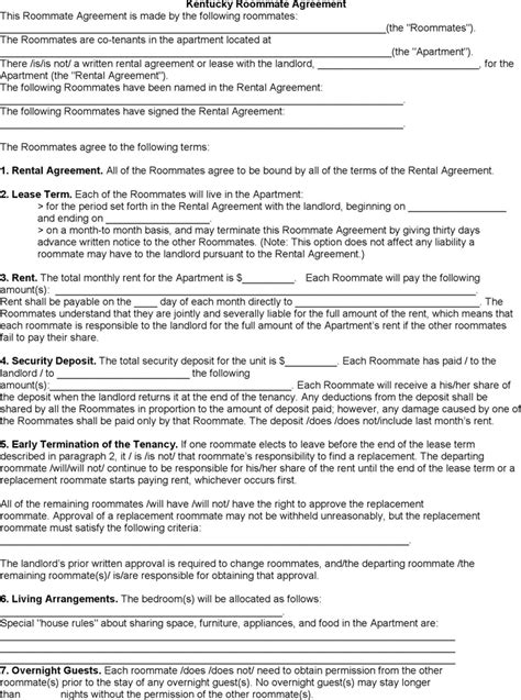 blank lease agreement ky download kentucky roommate rental agreement for free