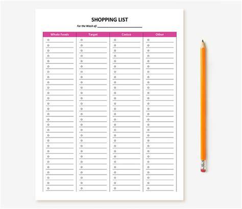 lista spesa alimentare customizable printable shopping list