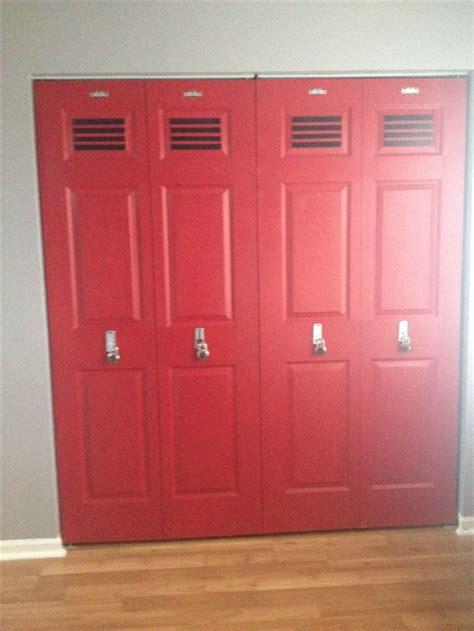 bedroom lockers locker doors for our sports room for my son pinterest