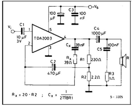 Ic Tda 2003 Ic St Audio Lifier circuit of power audio lifier with ic tda2003 for 10 watt xtronic