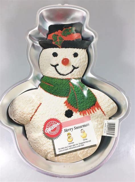wiltonchristmas tins wilton merry snowman aluminum cake pan mold 2105 803 w 1989 winter wilton cake