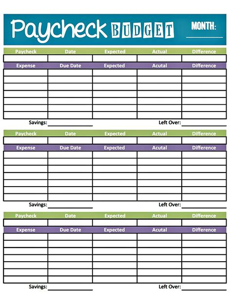 printable budget template bonfires and wine livin paycheck to paycheck free