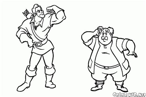 Disney Beauty And The Beast Gaston And Lefou Coloring Page Gaston Coloring Pages
