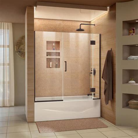 bathtub shower doors shop dreamline unidoor x 58 in w x 58 in h frameless