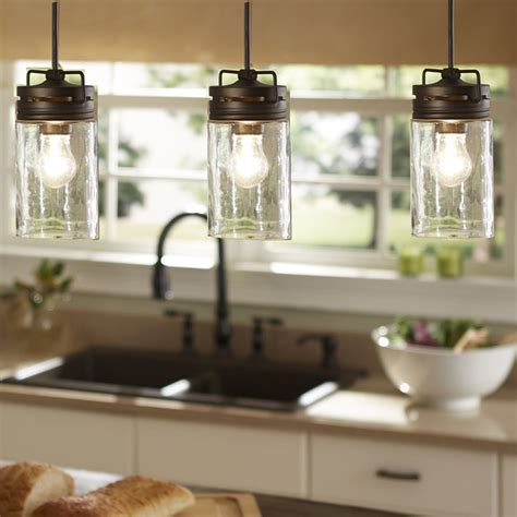 Industrial Farmhouse Glass Jar Pendant Light Pendant Island Lighting In Kitchen
