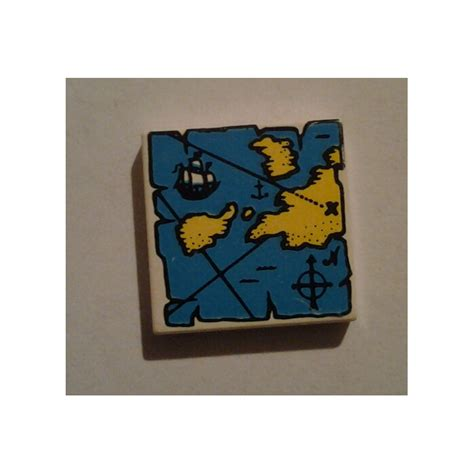 Lego Part Other Decorated Tile 2 X 2 With Lego Car And City lego white tile 2 x 2 with yellow and blue map decoration