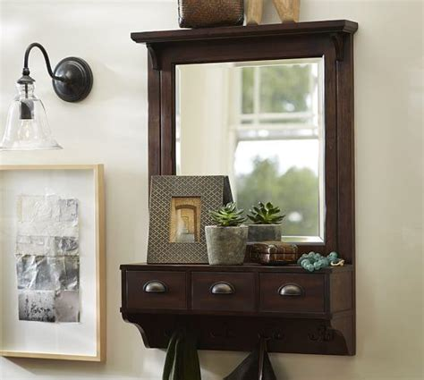 Entryway Wall Organizer With Mirror Wall Mount Entryway Organizer Mirror From Pottery Barn