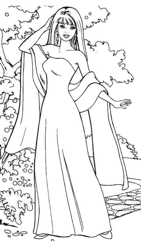 barbie model coloring pages barbie doll wear gown and scarf coloring page