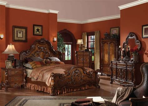 panel bedroom set carved headboard european style