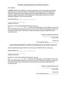 Severance Letter Template by Divorce Source Notice Of Severance Of Joint Tenancy