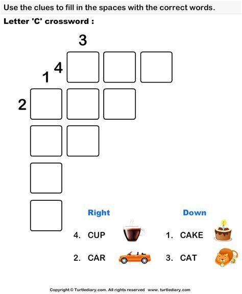 easy crossword puzzles for kindergarten letter c crossword worksheet turtle diary