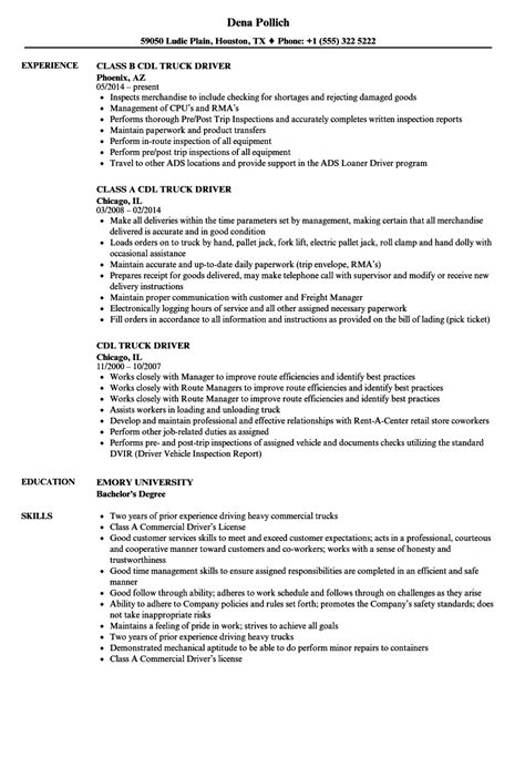 Cdl Resume by Resume Exles For Truck Drivers Sanitizeuv