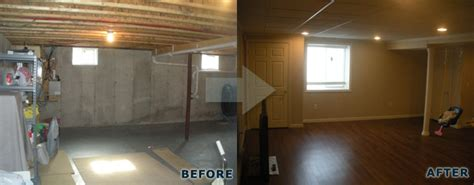 before after basement remodel photos
