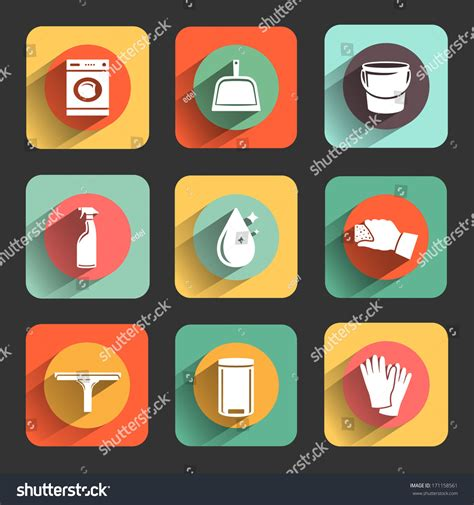 flat design icon download cleaning colorful flat design icon set stock vector