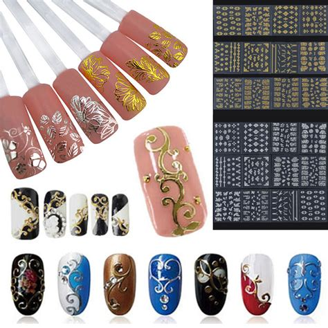 Gold Nail Sticker Decorations 12pc set metallic gold silver 3d nail stickers decals flower manicure decoration