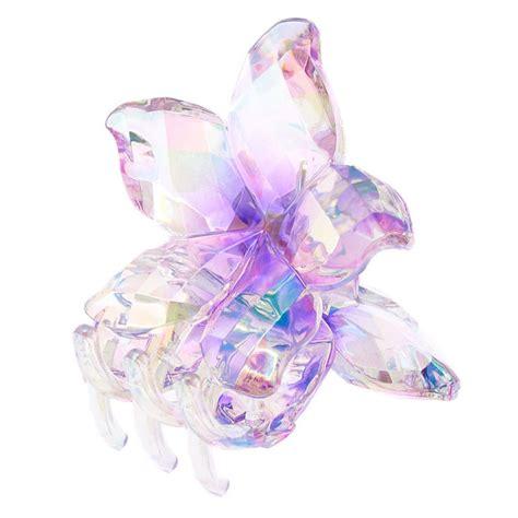 Flower Hair Cl clear iridescent flower hair claw purple s us