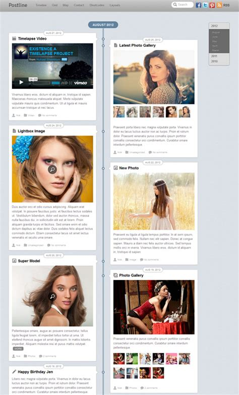 themes on facebook timeline facebook timeline minimalistic wordpress template postline