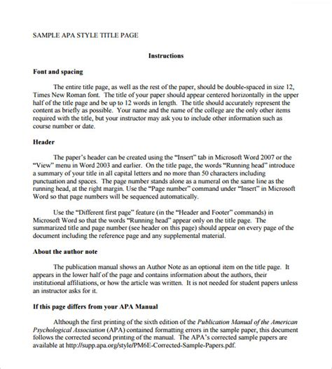 apa template format sle apa format title page template 6 free documents