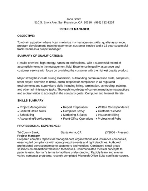 Sle Resume For Project Manager Pmi Functional Resume Sle Project Management 28 Images
