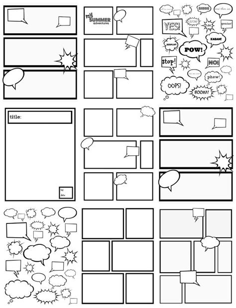 comic template printable free comic templates great for to color cut