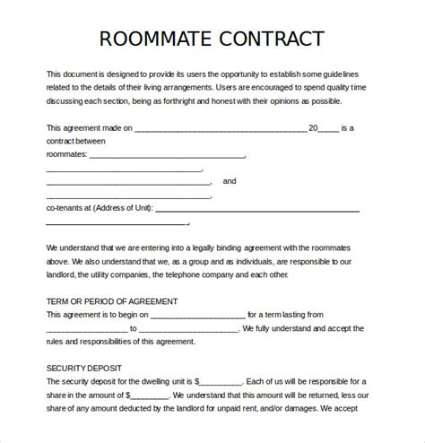 roommate template 14 roommate agreement templates free sle exle