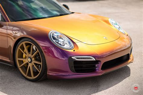 dipyourcar colors color flip porsche 911 turbo on vossen wheels gets a cool