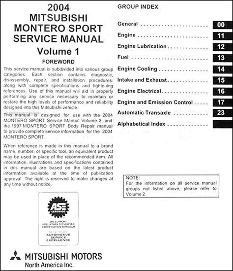 car repair manuals download 1999 mitsubishi montero sport auto manual 2004 mitsubishi montero sport original repair shop manual set