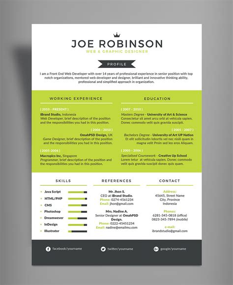 Color On Resume by Free Professional Resume Cv Design Template In