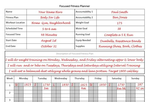 fitness plan template fitness planner the planner i used to lose 26 pounds in