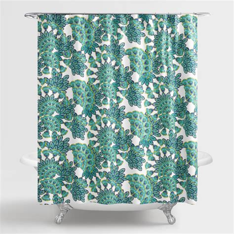 Blue And Green Shower Curtains Blue And Green Peacock Shower Curtain World Market