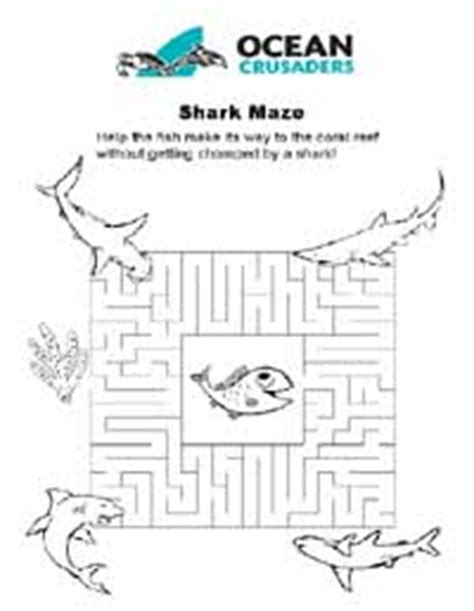 printable shark maze games puzzles ocean crusaders