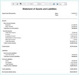 asset and liability statement template statement of assets and liabilities