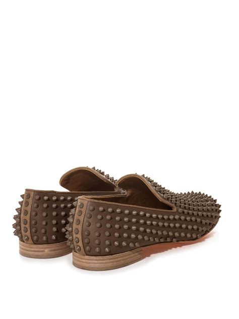 studded loafers christian louboutin rollerboy studded loafers in brown for