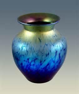blue iridescent cabinet vase